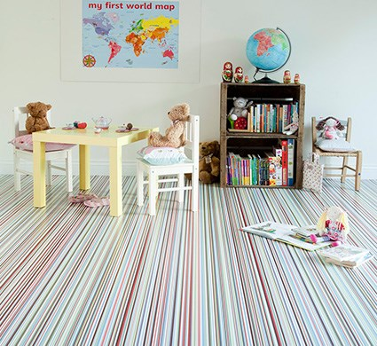 Bright striped vinyl flooring available at Affordable Flooring